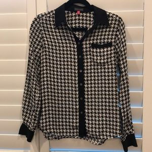 Black and white Houndstooth silk shirt